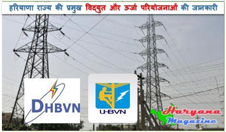 हरियाणा राज्य की प्रमुख विद्युत और ऊर्जा परियोजनाओं की जानकारी