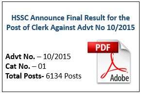 HSSC Announce Final Result for the Post of Clerk Advt No 10/2015