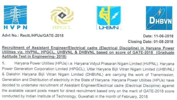 Haryana Power Utilities Recruitment for Assistant Engineer & Electrical Cadre : 2018