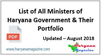 List of Haryana Government Minister (Updated August 2018)