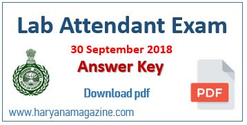 HSSC Lab Attendant Question Paper pdf 30 September 2018, Advt 11/2017 | Answer Key