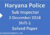 Haryana Police SI Solved Paper | 2 December Shift-1